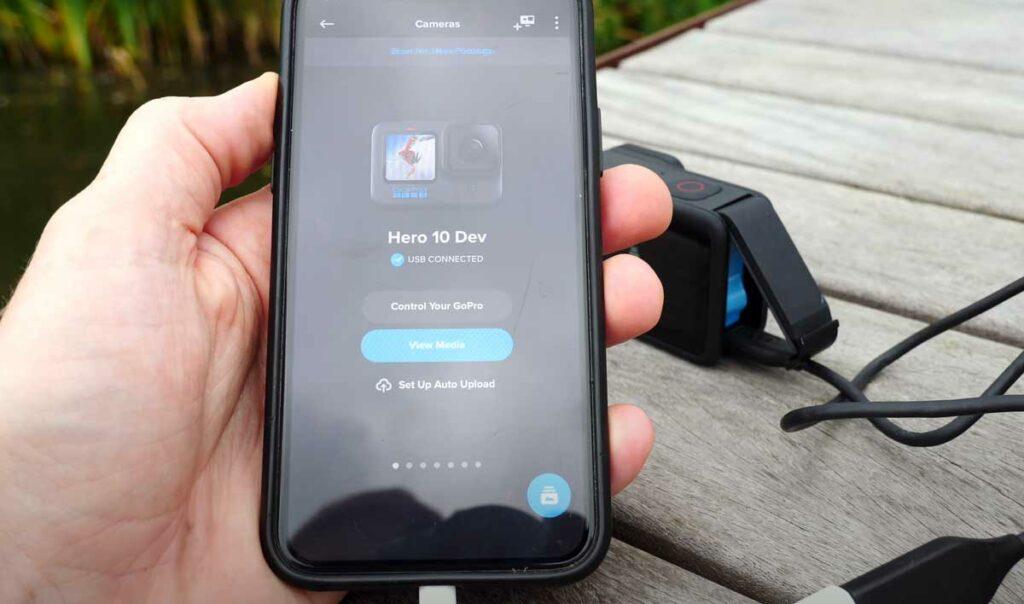iPhone conectado por USB a GoPro 10 hero camaras.video