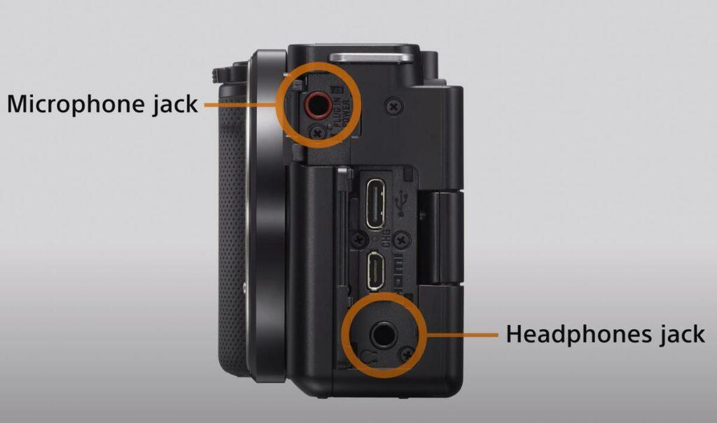 entrada y salida de micrófono jack camaras.video